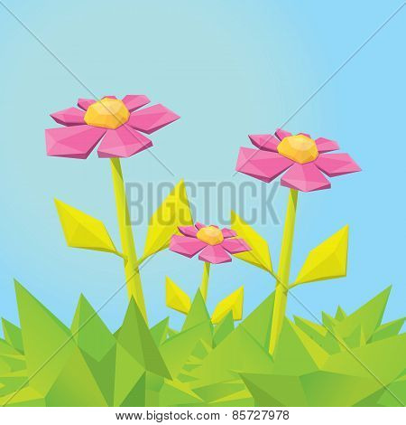 Conceptual polygonal pink spring flower.