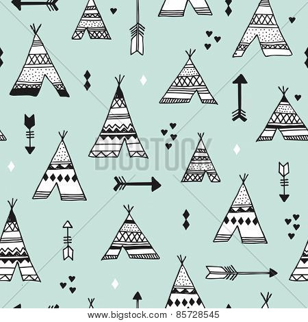 Seamless indian summer woodland arrows and teepee illustration aztec background pattern in vector