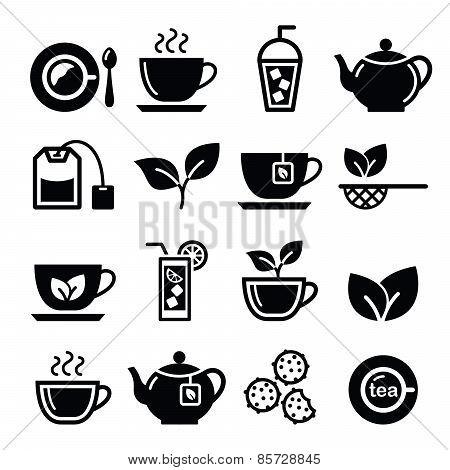 Tea and ice tea vector icons set