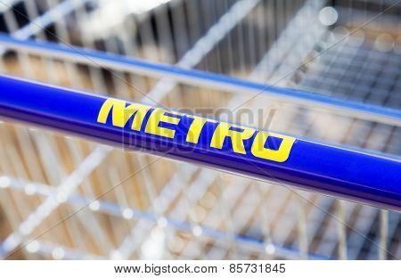 Large Empty Blue Shopping Cart Metro Store