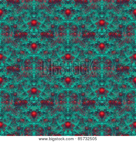 Fractal red rose flower seamless pattern on dark turquoise background