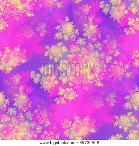 Fractal rosebuds seamless pattern on purple background
