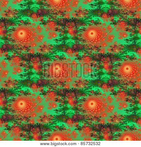Seamless decorative pattern with red-orange flowers