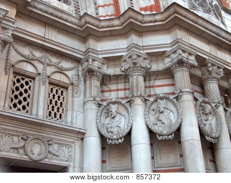 Details of the facade of Westminster Cathedral