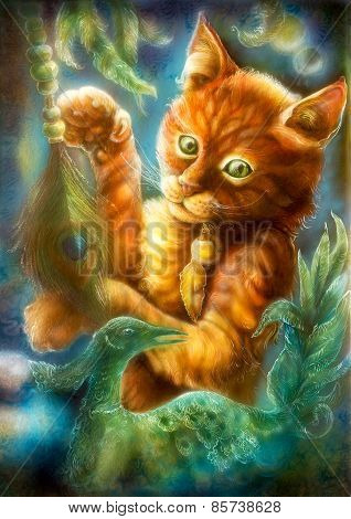 Clever Orange Cartoon Cat Playing With A Peacock Feather And Emerald Phoenix Bird, Fantasy Colorful