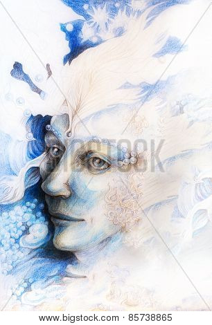 A fantasy detailed drawing of elven man creature blue fairy man face portrait with gentle abstract structures of pearls and feathers monochromatic poster