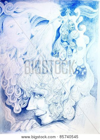 Ornamental Detailed Drawing Of Elven Man Head Listening To The Crystals Of Birdsong, Linear Monochro