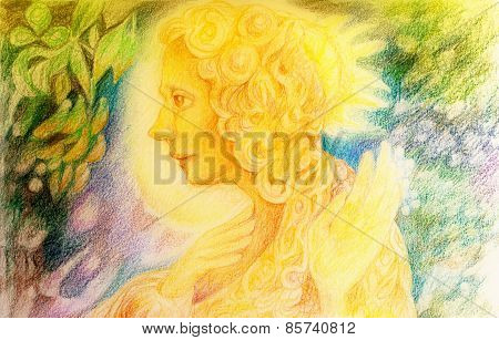 fantasy golden light fairy spirit with birds and floating leaf pattern beautiful colorful painting of a radiant elven creatures animals and energy lights poster
