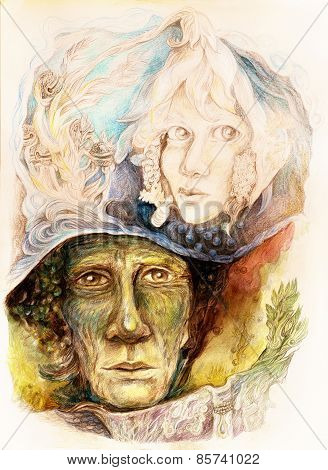 Old Story Teller Telling A Faiy Tale From An Enchanted Book, Beautiful Fantasy Colorful Painting