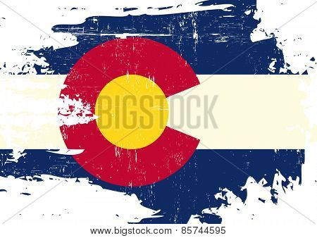 Scratched Colorado Flag. A flag of Colorado with a grunge texture