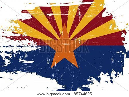 Scratched Arizona Flag. A flag of Arizona with a grunge texture