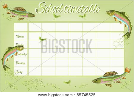 School Timetable With Rainbow Trout Vector