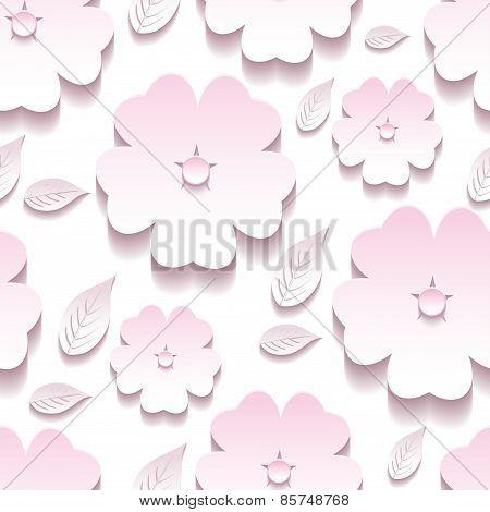 Stylish Floral Background Seamless Pattern, 3D Sakura Blossom