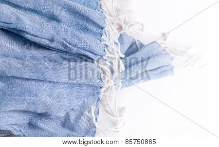 Detail Of Light Blue Woman Scraf Isolated On White