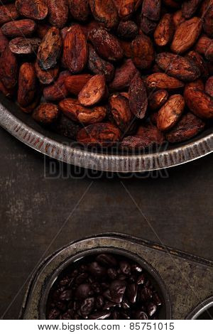 roasted cocoa chocolate beans in Vintage tin and chocolate in baking tin  on metalbackground