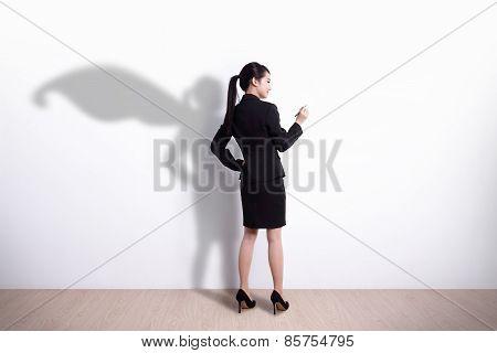 Superhero Business Woman Writing