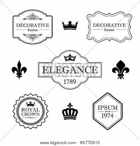 Set of calligraphic flourish vintage design elements - fleur de lis, crowns, frames and borders