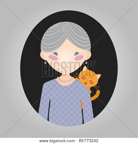 Happy old lady with her kitten. Cat lover character. Grey-haired grandmother with a pet cat. Vector illustration of old woman person for web site or application. Smiling person and a tabby cat. poster