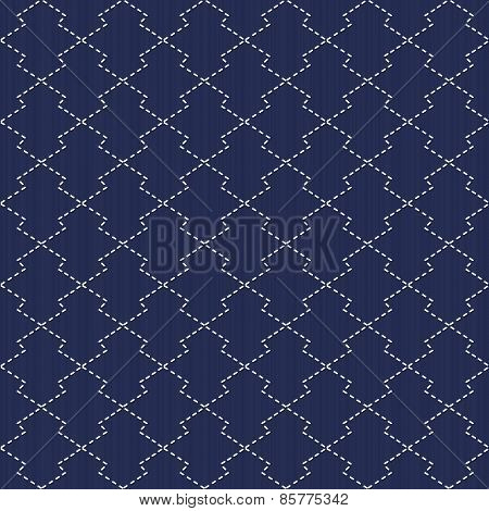 Traditional Japanese Embroidery. Sashiko motif - pine bark (Matsukawa-Bishi). Abstract backdrop. Needlework texture. Seamless vector pattern.  For decoration or printing on fabric. Pattern fills. poster