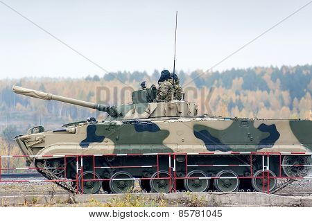 Infantry fighting vehicle BMP-3M in motion.'
