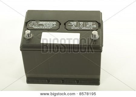 Car battery with empty label close up studio isolated poster