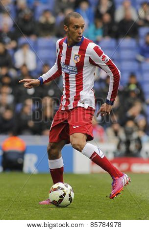 BARCELONA - MARCH, 14: Joao Miranda of Atletico Madrid during a Spanish League match against RCD Espanyol at the Estadi Cornella on March 14, 2015 in Barcelona, Spain