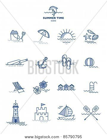 SUMMER ICONS COLLECTION. Editable vector illustration file. Design elements, symbols, labels,stickers etc.
