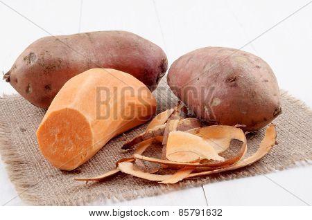 Peeled Sweet Potato And Potato Peel