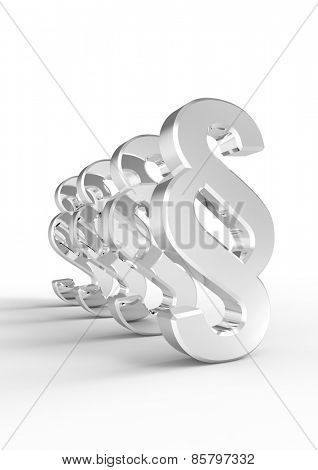 Paragraph sign symbol isolated over white. Computer generated 3D photo rendering.
