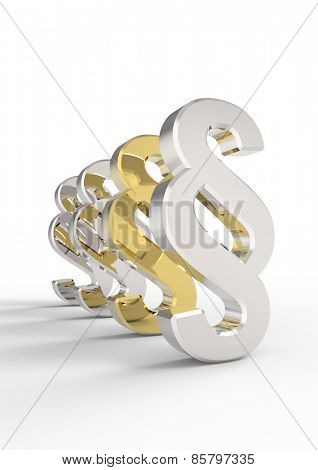 Silver and gold paragraph sign  isolated over white. Computer generated 3D photo rendering.