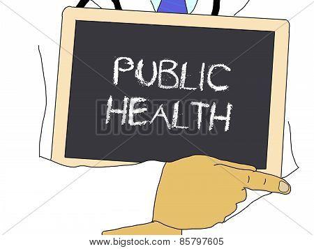 Illustration: Doctor Shows Information: Public Health