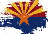 Scratched Arizona Flag. A flag of Arizona with a grunge texture poster