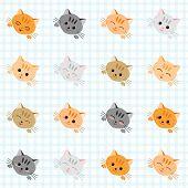 Seamless illustration with cute cats. Japanese manga style. Kawaii joyful cats. Kitten background. Endless texture. Plaid backdrop pattern. Animal vector pattern. Set of icons. poster