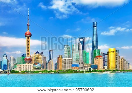 Skyline View On Pudong New Area, Shanghai.