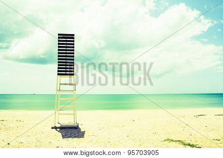 Lifeguard Tower Observation Chair On Tropical Beach