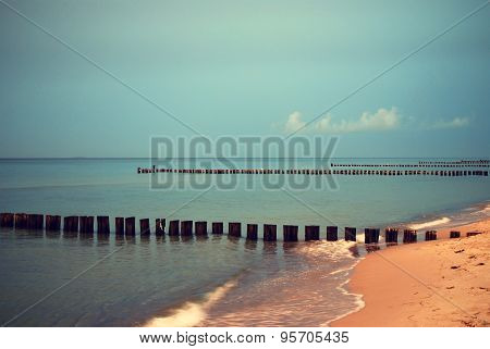 sunset at the baltic sea in germany in twilight