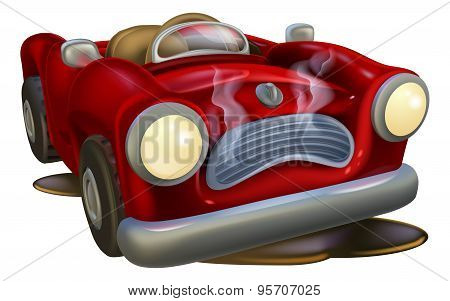 Broken Down Cartoon Car