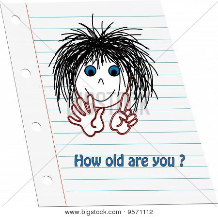 Cartoon kids face holding up six counting fingers to show age with words 'How old are you' on note p