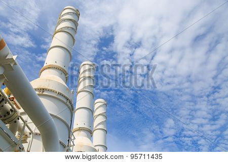 Cooling tower of oil and gas plant, hot gas from the process was cooling as the process