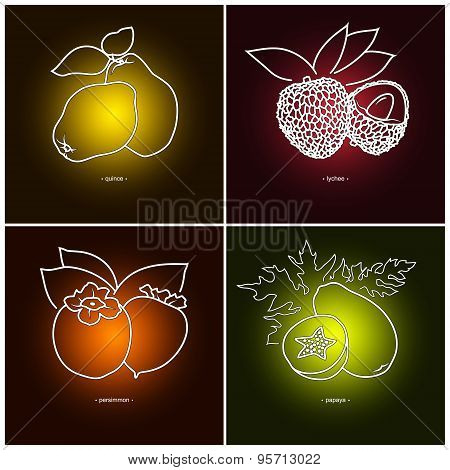 Persimmon, Papaya, Quince,  Lichee