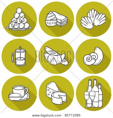 Set of cartoon cute hand drawn icons with shadows on french cuisine theme: cheese, wine, macaroon, criossant, pastry. Ethnic travel concept. Great for restaurant menu or food site and app