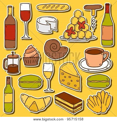 Set of cartoon cute hand drawn stickers on french cuisine theme: cheese, wine, macaroon, criossant,