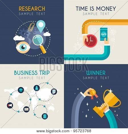 Set Of Flat Vector Business Illustrations. Research, Time Is Money, Business Trip, Winner