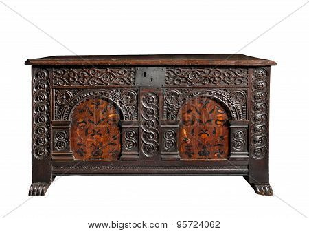 Beautiful Old Antique Coffer Trunk Chest Carved With Marquetry