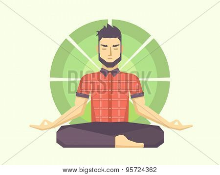 Man meditates in the Lotus position.