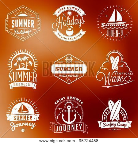 Summer Holidays Design Elements. Set Of Hipster Vintage Logotypes And Badges On Colorful Background