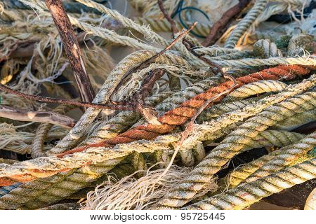 Background Of Old Strings Ropes And Fishing Net