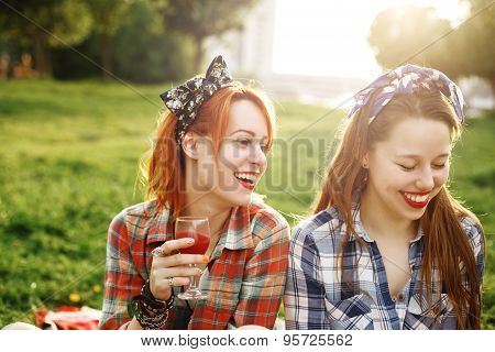 Two Young Happy Girls In Pin-up Style