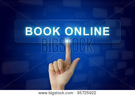 Hand Press On Book Online Button On Touch Screen