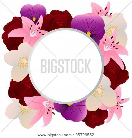 Fragrant flowers. Background with place for text. Vector illustration